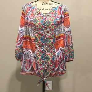 Anthropologie Fig and Flower boho top size 1x